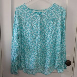 Escapada Turquoise Button Down Tunic Top-XL
